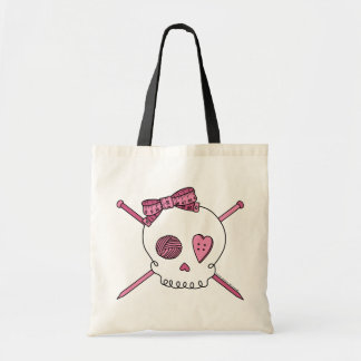 Skull & Knitting Needles (Pink) Tote Bag