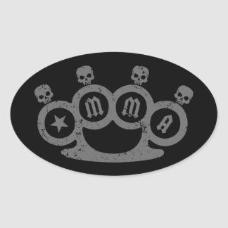 Skull Knuckles Oval Sticker