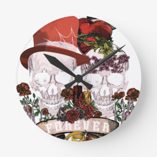 Skull Love Marriage Skeleton Couple Wall Clock