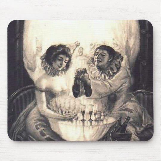 Skull Love, Victorian Optical Illusion Mouse Pad