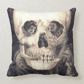 Skull Love, Vintage Victorian Optical Illusion Throw Pillow
