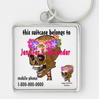 Skull luggage bag I.D. tag Silver-Colored Square Keychain