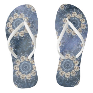 Skull Mandala (tiled in denim blue) Flip Flops