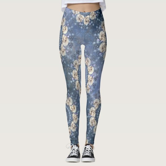 Skull Mandala (tiled in denim blue) Leggings