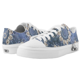 Skull Mandala (tiled in denim blue) Low-Top Sneakers