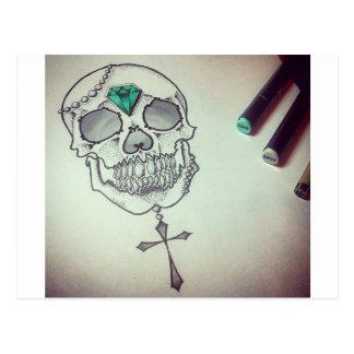 Skull marker logo postcard