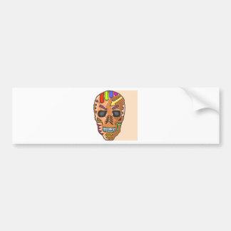 Skull Mask Painted Sketch Bumper Sticker