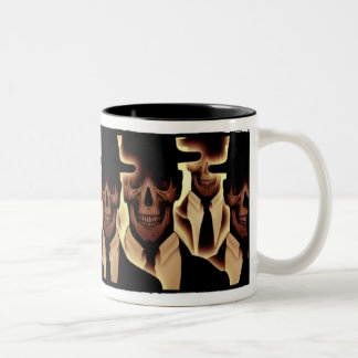 Skull Men in Black Two-Tone Coffee Mug