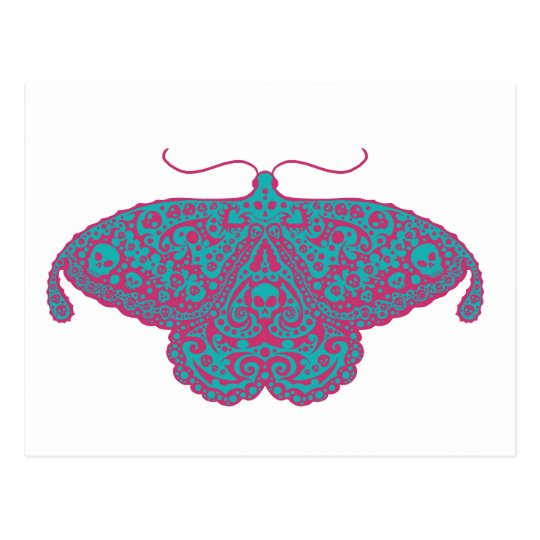 skull moth pink and turquoise postcard