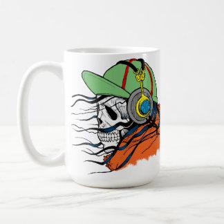 Skull Mug, Headphones, Hoodie, wispy hair, Hat Coffee Mug