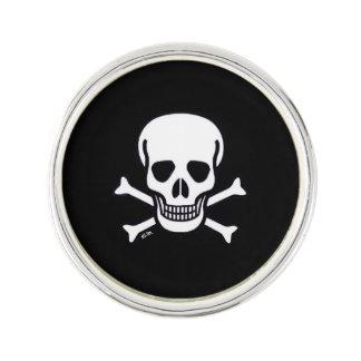 Skull n Bones Black lapel pin silver plated