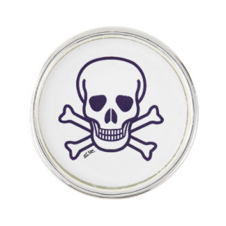 Skull n Bones lapel pin silver plated