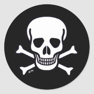 Skull n Bones round black sticker