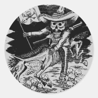 skull n crossbone gonzales round sticker