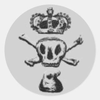 skull n crossbone jones round sticker