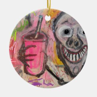 SKULL N DRINK 12.jpg Round Ceramic Ornament