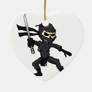 skull ninja cartoon. ceramic heart ornament