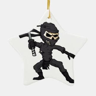 skull ninja cartoon. ceramic star ornament