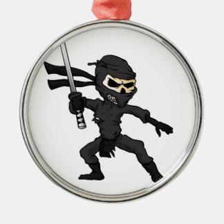 skull ninja cartoon. Silver-Colored round ornament