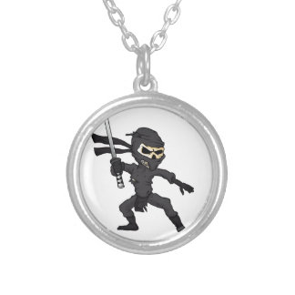 skull ninja cartoon. silver plated necklace