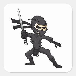skull ninja cartoon. square sticker
