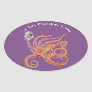 skull octopus oval sticker