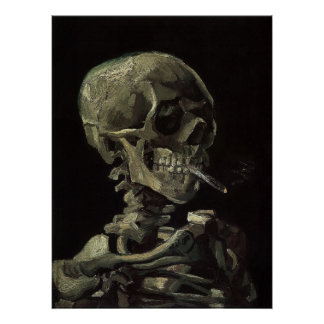 Skull of a Skeleton with Burning Cigarette Poster