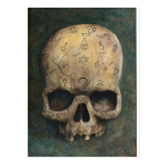 Skull of a witch postcard