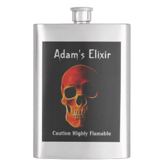 Skull of Flames Personalized Flask