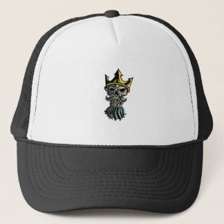 Skull of Neptune Trident Crown Head  Woodcut Trucker Hat