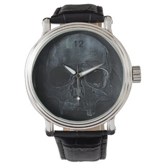 skull on black background wrist watches