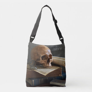 Skull on Books custom monogram bags
