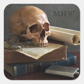 Skull on Books custom monogram stickers