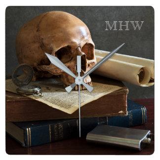 Skull on Books custom monogram wall clock