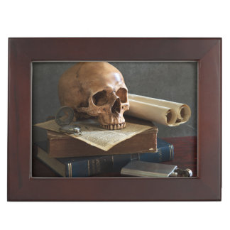 Skull on Books custom text keepsake box