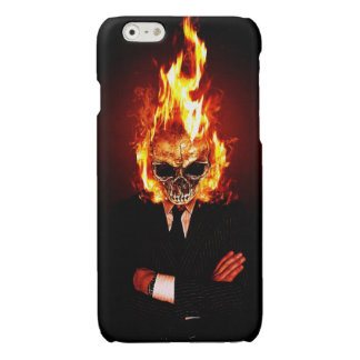 Skull on fire glossy iPhone 6 case