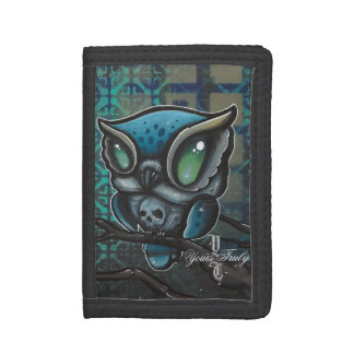 skull  owl  original tattoo art graffiti art trifold wallet