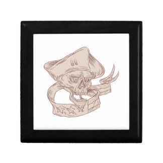 Skull Patriot Ribbon Flag Drawing Gift Box