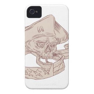 Skull Patriot Ribbon Flag Drawing iPhone 4 Covers
