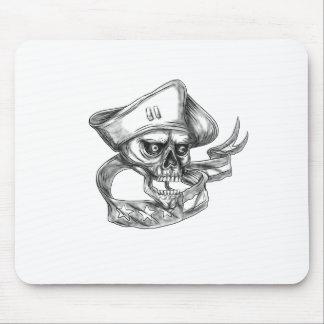 Skull Patriot USA Flag Ribbon Tattoo Mouse Pad