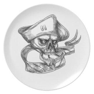 Skull Patriot USA Flag Ribbon Tattoo Plate