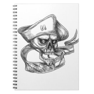 Skull Patriot USA Flag Ribbon Tattoo Spiral Notebook