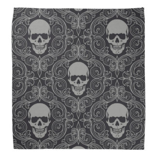 Skull Pattern Gray and black Texture Gothic Floral Do-rag