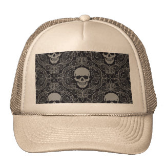 Skull Pattern Gray and black Texture Gothic Floral Trucker Hat