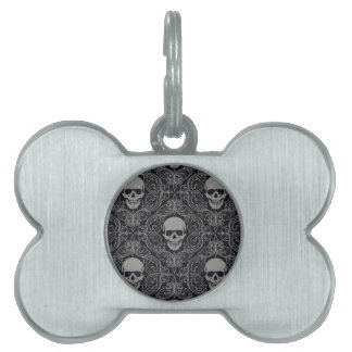 Skull Pattern Gray and black Texture Gothic Floral Pet Name Tags