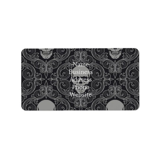 Skull Pattern Grey and black Texture Gothic Floral Label