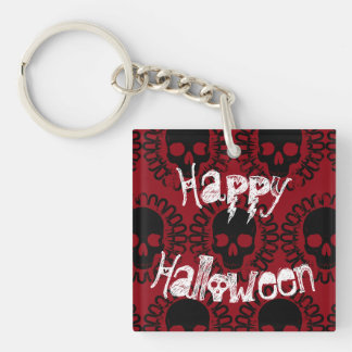 Skull Pattern Halloween Punk Goth Pick Any Color Double-Sided Square Acrylic Keychain