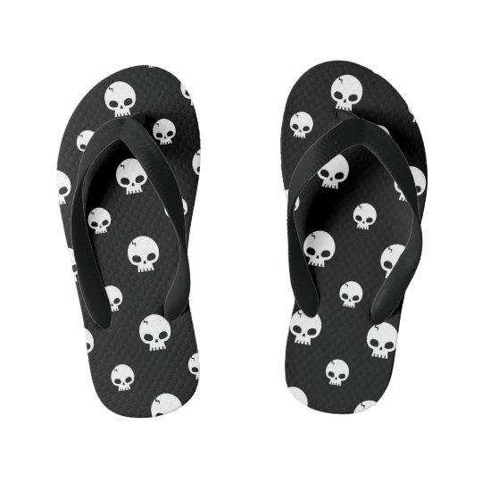 Skull Pattern Kids Flip Flops