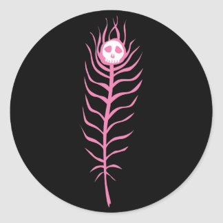 Skull Peacock Feather Classic Round Sticker
