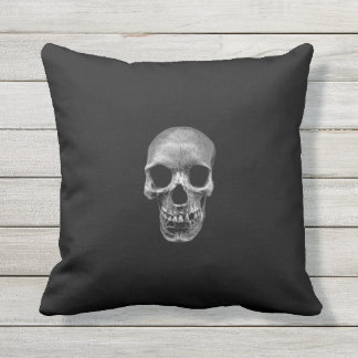 Skull Photograph Throw Pillow